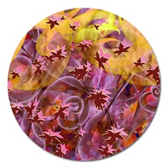 Falling Autumn Leaves Magnet 5  (round)
