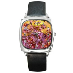 Falling Autumn Leaves Square Metal Watch