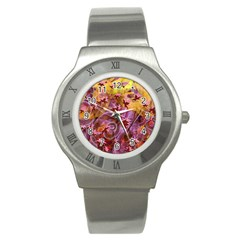 Falling Autumn Leaves Stainless Steel Watch
