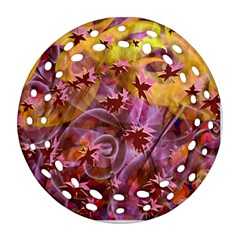 Falling Autumn Leaves Round Filigree Ornament (2side)