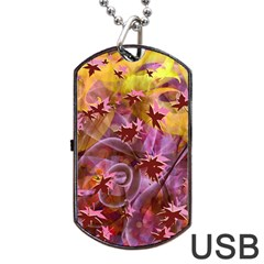 Falling Autumn Leaves Dog Tag Usb Flash (two Sides)