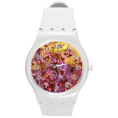 Falling Autumn Leaves Round Plastic Sport Watch (m)