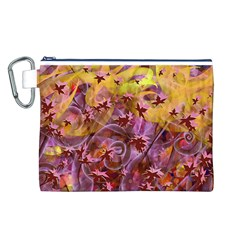 Falling Autumn Leaves Canvas Cosmetic Bag (L)