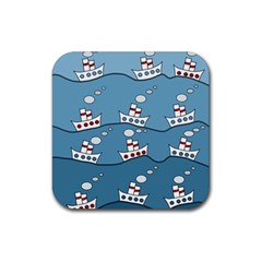 Boats Rubber Square Coaster (4 pack)