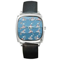 Boats Square Metal Watch