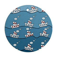 Boats Round Ornament (Two Sides)