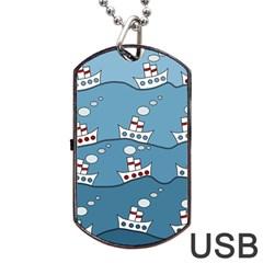 Boats Dog Tag USB Flash (One Side)