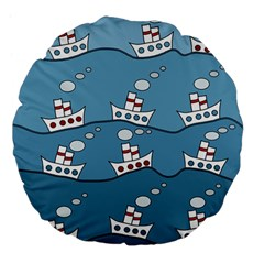 Boats Large 18  Premium Flano Round Cushions