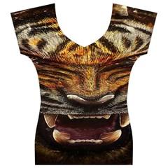 Tiger Face Women s V-Neck Cap Sleeve Top
