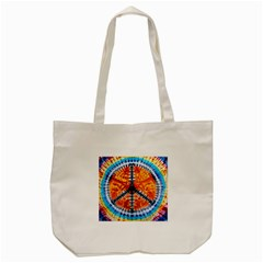Tie Dye Peace Sign Tote Bag (Cream)