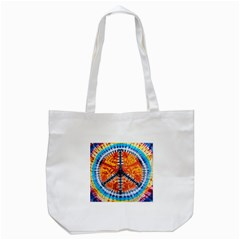 Tie Dye Peace Sign Tote Bag (White)