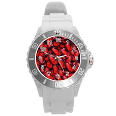 The Red Butterflies Sticking Together In The Nature Round Plastic Sport Watch (L)