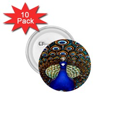 The Peacock Pattern 1.75  Buttons (10 pack)