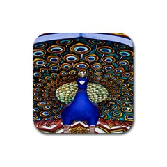 The Peacock Pattern Rubber Square Coaster (4 pack)