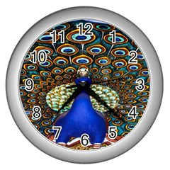 The Peacock Pattern Wall Clocks (Silver)