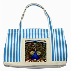 The Peacock Pattern Striped Blue Tote Bag