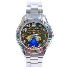The Peacock Pattern Stainless Steel Analogue Watch