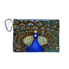 The Peacock Pattern Canvas Cosmetic Bag (M)