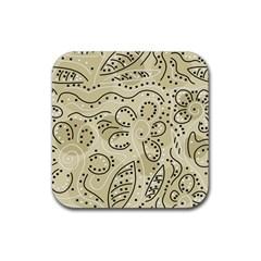 Floral decor  Rubber Coaster (Square)