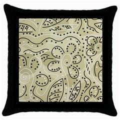 Floral decor  Throw Pillow Case (Black)