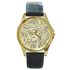 Floral decor  Round Gold Metal Watch