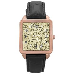 Floral decor  Rose Gold Leather Watch