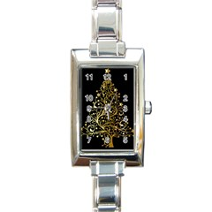 Decorative Starry Christmas Tree Black Gold Elegant Stylish Chic Golden Stars Rectangle Italian Charm Watch