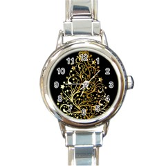 Decorative Starry Christmas Tree Black Gold Elegant Stylish Chic Golden Stars Round Italian Charm Watch