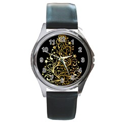 Decorative Starry Christmas Tree Black Gold Elegant Stylish Chic Golden Stars Round Metal Watch