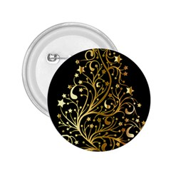 Decorative Starry Christmas Tree Black Gold Elegant Stylish Chic Golden Stars 2.25  Buttons