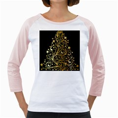 Decorative Starry Christmas Tree Black Gold Elegant Stylish Chic Golden Stars Girly Raglans