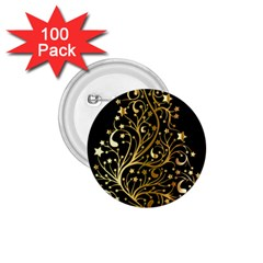 Decorative Starry Christmas Tree Black Gold Elegant Stylish Chic Golden Stars 1.75  Buttons (100 pack)