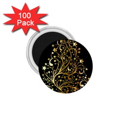 Decorative Starry Christmas Tree Black Gold Elegant Stylish Chic Golden Stars 1.75  Magnets (100 pack)