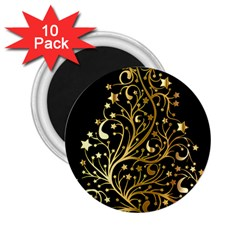 Decorative Starry Christmas Tree Black Gold Elegant Stylish Chic Golden Stars 2.25  Magnets (10 pack)