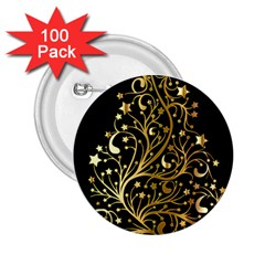 Decorative Starry Christmas Tree Black Gold Elegant Stylish Chic Golden Stars 2.25  Buttons (100 pack)