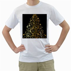 Decorative Starry Christmas Tree Black Gold Elegant Stylish Chic Golden Stars Men s T-Shirt (White) (Two Sided)