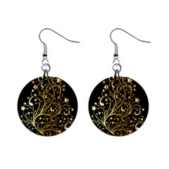 Decorative Starry Christmas Tree Black Gold Elegant Stylish Chic Golden Stars Mini Button Earrings