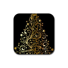 Decorative Starry Christmas Tree Black Gold Elegant Stylish Chic Golden Stars Rubber Square Coaster (4 pack)