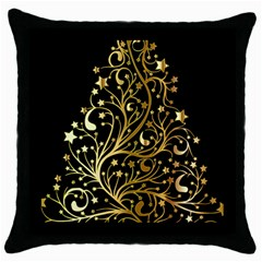 Decorative Starry Christmas Tree Black Gold Elegant Stylish Chic Golden Stars Throw Pillow Case (Black)
