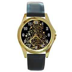 Decorative Starry Christmas Tree Black Gold Elegant Stylish Chic Golden Stars Round Gold Metal Watch