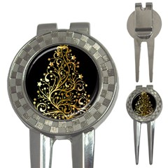 Decorative Starry Christmas Tree Black Gold Elegant Stylish Chic Golden Stars 3-in-1 Golf Divots
