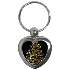 Decorative Starry Christmas Tree Black Gold Elegant Stylish Chic Golden Stars Key Chains (Heart)