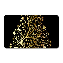 Decorative Starry Christmas Tree Black Gold Elegant Stylish Chic Golden Stars Magnet (Rectangular)