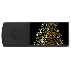 Decorative Starry Christmas Tree Black Gold Elegant Stylish Chic Golden Stars USB Flash Drive Rectangular (2 GB)