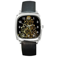 Decorative Starry Christmas Tree Black Gold Elegant Stylish Chic Golden Stars Square Metal Watch