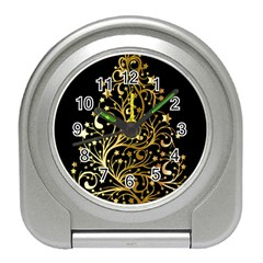 Decorative Starry Christmas Tree Black Gold Elegant Stylish Chic Golden Stars Travel Alarm Clocks