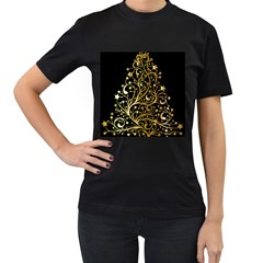 Decorative Starry Christmas Tree Black Gold Elegant Stylish Chic Golden Stars Women s T-Shirt (Black) (Two Sided)
