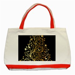 Decorative Starry Christmas Tree Black Gold Elegant Stylish Chic Golden Stars Classic Tote Bag (Red)