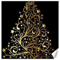 Decorative Starry Christmas Tree Black Gold Elegant Stylish Chic Golden Stars Canvas 12  x 12