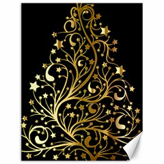 Decorative Starry Christmas Tree Black Gold Elegant Stylish Chic Golden Stars Canvas 12  x 16